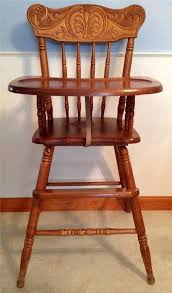 vintage carved wooden baby high chair solid wood toddler highchair top craftsman antique high chairs wooden
