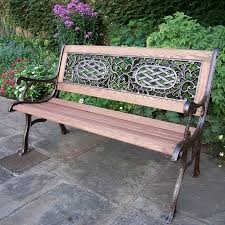 oakland living mississippi cast iron and wood bench in antique bronze finish hayneedle