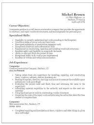 Company Resume Examples Carpenter Resume Examples Mazard Info