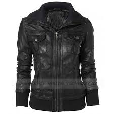 double collar black leather er jacket women