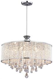 five light chrome clear crystals glass drum shade pendant