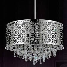 picture of 20 forme modern laser cut drum shade round crystal pendant chandelier stainless steel