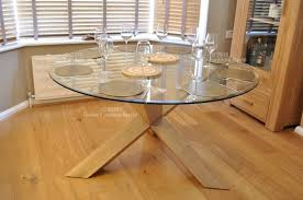 rio round large glass dining table with oak legs