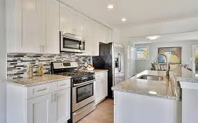 modern white kitchen galley