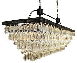 weston 40 rectangular glass drop crystal chandelier black finish