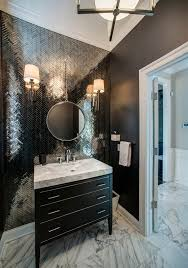 metal accent wall with black three drawer vanity powder room black powder room vanity cozy black