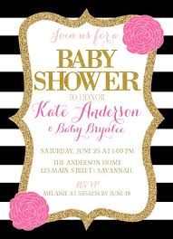 Baby Shower Invitations Pink Black And White Baby Shower