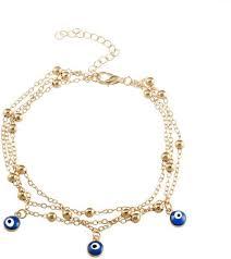 charming bracelet turkish blue eye pendant foot anklet summer beach multi layer beaded anklet jewelry for women girls gift souq uae