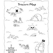 Small Picture Treasure Map Coloring Page and Activity Can use as tracing page