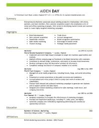 Marketing Resumes Samples Marketing Resume Sample As Sample Of