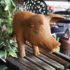 large rustic cast iron pig sculpture