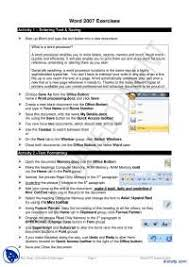 Exercises For Word 2007 Learning Microsoft Office Handout Docsity