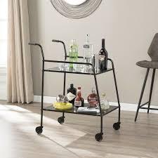 black metal bar cart indoor modern kitchen serving trays platter wheels shelves
