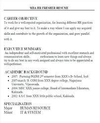 Resume Format For Mba Resume Templates For Freshers Hr Fresher