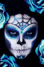 crazy makeup day of the dead blue