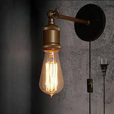 vintage style lighting fixtures. Kiven Vintage Style Wall Lamp Sconces Plug-In Lighting Industrial Loft Light Fixture Lantern With Black Fine Line, - Online Fixtures H