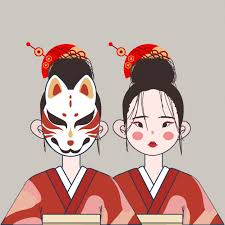 Premium Vector   Cute <b>japan girl</b> with traditional costume and mask ...