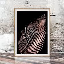 black wall art metallic leaf decor