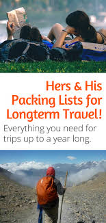 Packing Lists Hers and His Packing Lists For Long Term Travel - Just a Pack