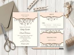 diy wedding invitation template. spring vines peach wedding invitation set diy template r