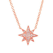 details about 0 06ct 14k rose gold round cut diamond north star pendant necklace