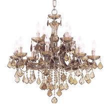 crystorama maria theresa 12 light golden teak crystal chandelier