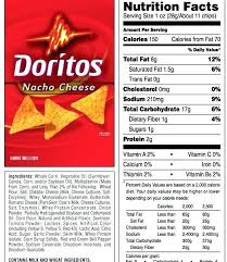 food label of doritos 9 best photos of doritos food label doritos chips nutrition inside baked