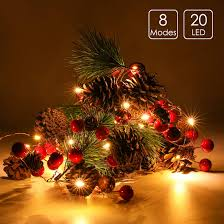 Cone Lights Christmas Details About 6 5ft 20 Led Christmas Garland Lights Red Berry Pine Cone Home Decoration Gifts