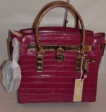 MICHAEL KORS HAMILTON LARGE EAST WEST EMBOSSED LEATHER SATCHEL MULBERRY GOLD