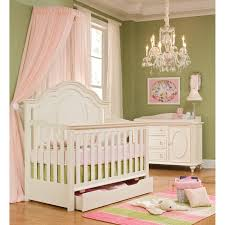 classic enchantment crib with pink princess hanging curtain bed netting canopy also fascinating glass crystal chandelier baby nursery