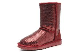 UGG 3161 Women Classic Short Sparkles Boots Red Wine ...