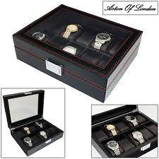 mens watch storage box aston of london® mens carbon fibre effect pu leather 10 watch box storage case