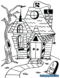 Printable House Coloring Pages Printable Haunted House Coloring