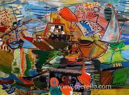 modern paintings mediterranean jose manuel merello tormenta de color en tarifa 54 x 73 cm mix media on canvas