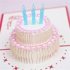 5pcs Happy Birthday Cake 3d Laser Cut Pop Up Paper Handmade