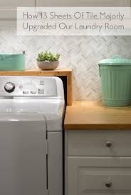 Install Backsplash Beauteous How To Install A Marble Herringbone Tile Backsplash In The Laundry
