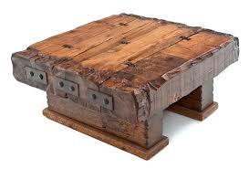 reclaimed barn wood beam coffee table