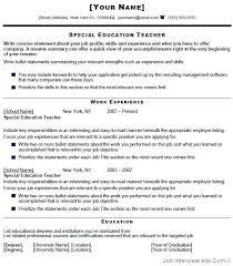 Resume For Special Education Teacher Sample Professional Resume