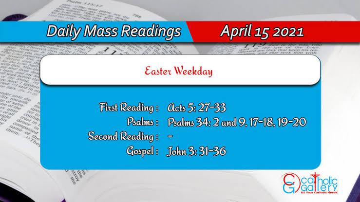 Catholic Daily Mass Reading Online 15th April 2021 Thursday