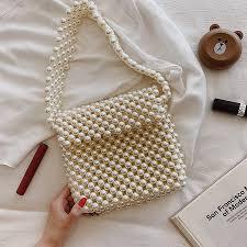 Beaded Bag Designer Hand Woven Pearl Womens Bags Beaded Women Handbag Designer Shoulder Crossbody Bag Phone Bag Ladies Hand Bags Purse Clutch 2019
