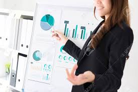 Businesswoman Pointing To The Graph On Flip Chart Making A Presentation