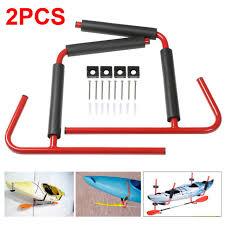 2pcs heavy duty kayak canoe wall mount storage rack folding storing bracket red