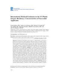 Pdf International Medical Graduates In The Us Plastic