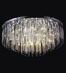 25 light tiered crystal prism flush fitting light