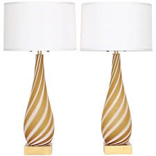 murano glass lamps in erscotch and white