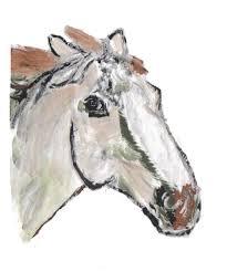 painting of beige horse head