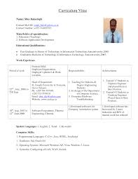 Resume Format For Assistant Professor In Engineering College