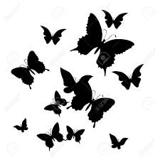白い Backgroundvector の蝶のシルエット