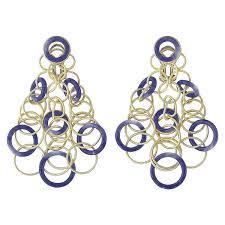 18k yellow gold lapis hawaii chandelier earrings