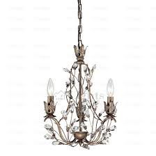 antique 3 light crystal twig type small vintage chandelier